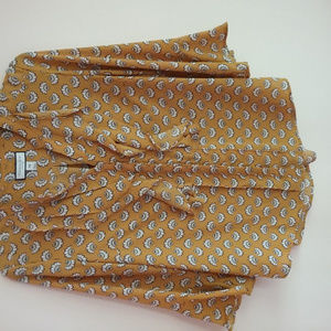 Women's Charter Club Golden/White Pleated Blouse